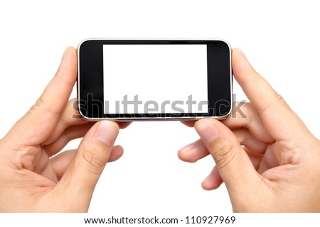 Isolation man hands holding the phone tablet touch computer gadget
