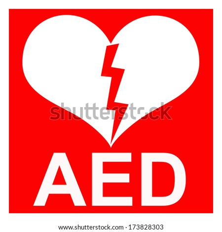 Isolation of a red AED symbol to indicate that there is a defibrillator located in the building or indicating the exact location