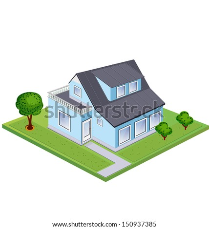 Isometric at home against the backdrop of green lawn and trees