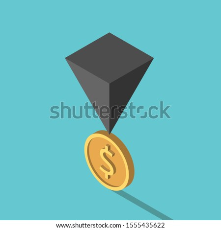 Isometric black pyramid on gold dolalr coin. Financial crisis, risk, instability, unstable economy and investment concept. Flat design. 3d illustration. Raster copy