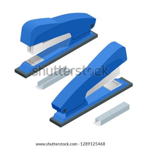 Isometric blue Stapler and stapleson a white background. Office stationery paper stapler illustration.