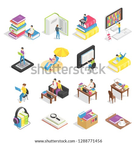 Isometric book set. Reading books, textbooks for student learning and ebooks technology icons. Textbook for distance graduation college students, tablet reader  illustration isolated symbol set