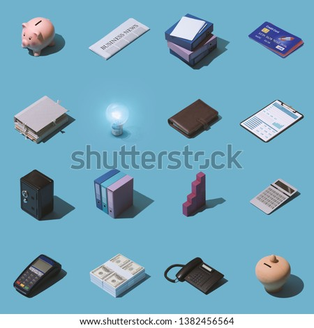 Isometric business, banking and finance items collage background #1382456564