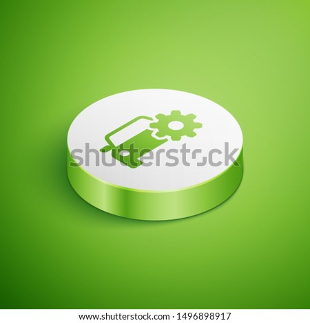 Isometric Car service icon isolated on green background. Auto mechanic service. Mechanic service. Repair service auto mechanic. Maintenance sign. White circle button