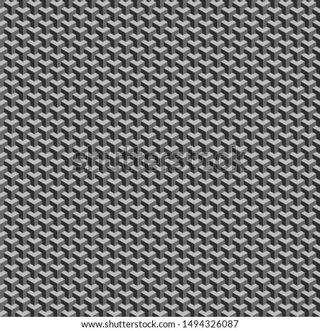 Isometric Cubes, Geometry [Dark Grey, Grey & Light Grey]