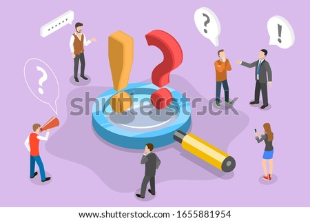 Isometric 3D Conceptual Illustration of Frequently Asked Questions. People are Asking Questions and Getting Answers Standing Around the Magnifying Glass With Question and Exclamation Signs on it. FAQ