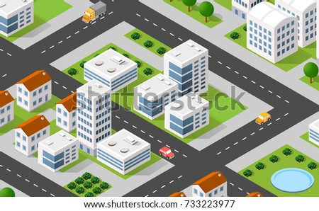 Isometric 3D illustration city urban