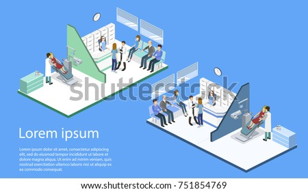 Isometric 3D illustration people are enrolled to see a dentist. A nurse is taking patients. The dentist treats the patient. People are waiting for a dentist.