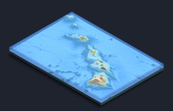 Isometric 3D map of Hawaii Islands with underwater structure. Large volcanos.