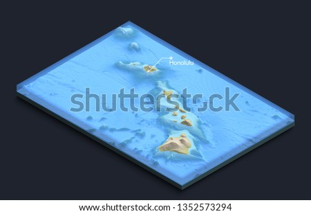 Isometric 3D map of Hawaii Islands with underwater structure. Large volcanos. #1352573294
