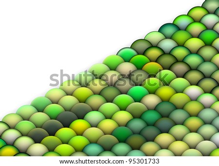 isometric 3d render of balls in multiple bright green
