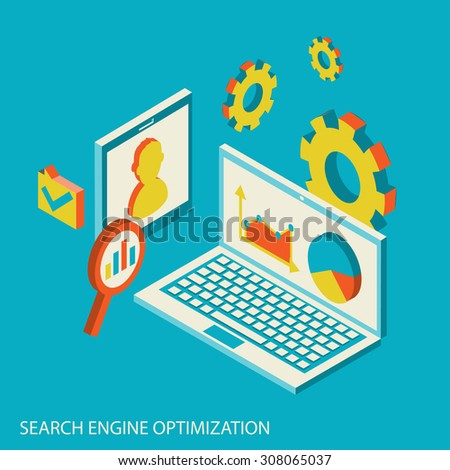 Isometric design modern  illustration concept of website analytics and SEO data analysis using modern electronic and mobile devices