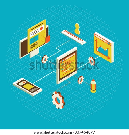 isometric design modern illustration concept of website analytics search information and computing data analysis using modern electronic and mobile devices