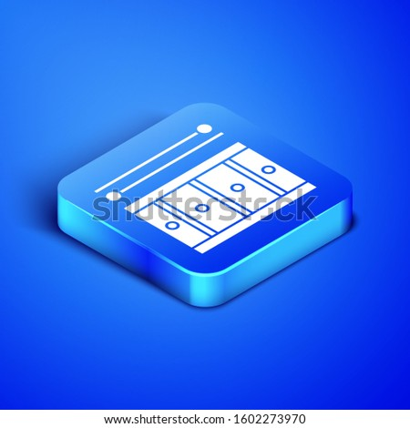 Isometric Drum with drum sticks icon isolated on blue background. Music sign. Musical instrument symbol. Blue square button.