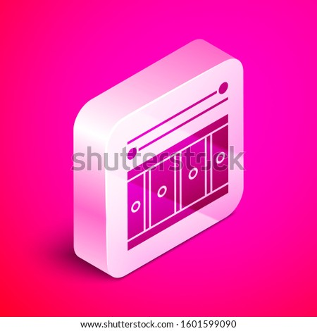 Isometric Drum with drum sticks icon isolated on pink background. Music sign. Musical instrument symbol. Silver square button.
