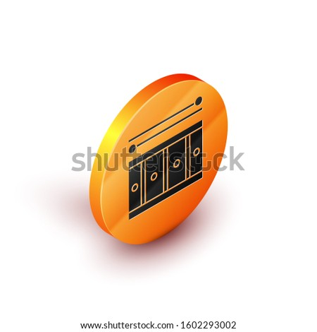 Isometric Drum with drum sticks icon isolated on white background. Music sign. Musical instrument symbol. Orange circle button.