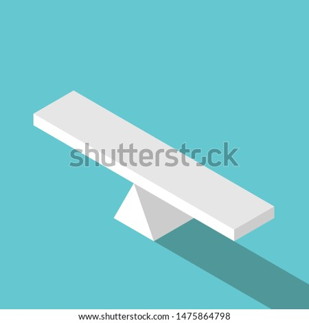 Isometric empty seesaw scale in equilibrium on turquoise blue background. Balance, comparison, decision and measure concept. Flat design. 3D illustration