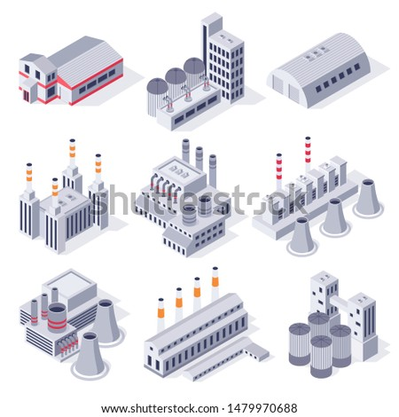 Isometric factory buildings. Industrial power plant building, factories warehouse storage and industry estate. Manufacturing industry, plant architecture exterior 3D  isolated icons set