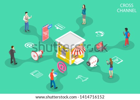 Isometric flat concept of cross channel, omnichannel, several communication channels between seller and customer, digital marketing, online shopping.
