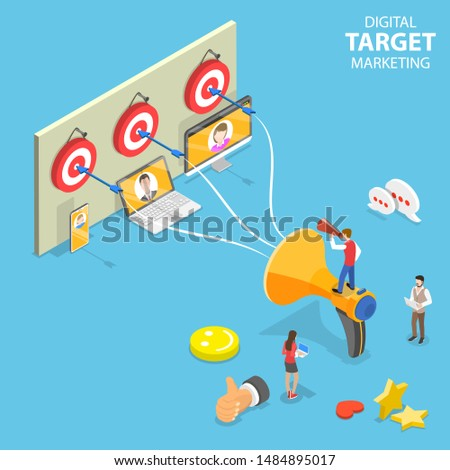 Isometric flat concept of digital target marketing, targeted advertising, brand promotion campaign.