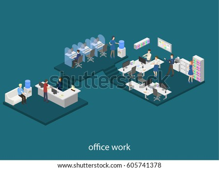 Isometric flat 3D concept design interior office set with workers and support hotline