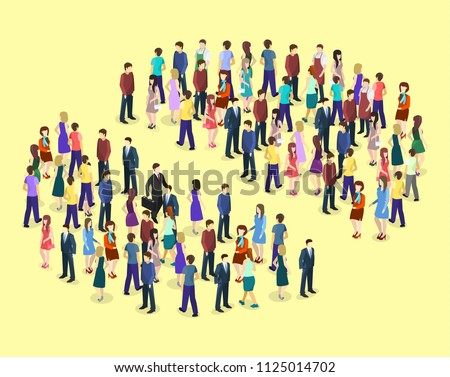 Isometric flat 3D isolated concept Infographic chart consisting of a crowd of people