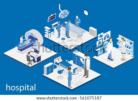 Isometric flat interior of hospital room, pharmacy, doctor's office, waiting room, reception. Doctors treating the patient. Flat 3D illustration