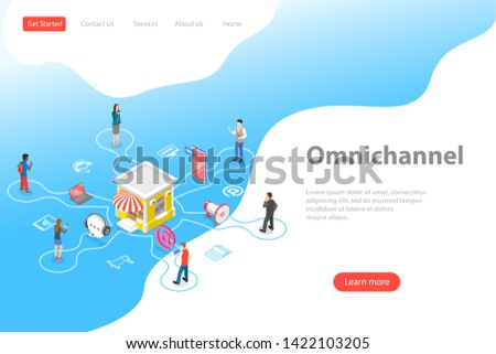 Isometric flat landing page template of cross channel, omnichannel, several communication channels between seller and customer, digital marketing, online shopping.