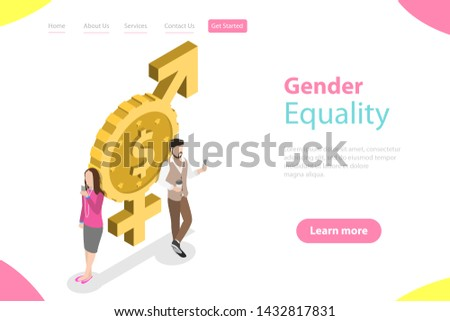 Isometric flat landing page template of gender equality, male and female equal rights and opportunities.