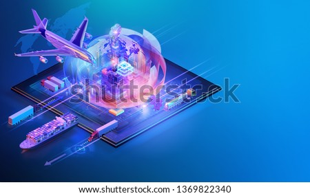 Isometric global cargo logistic website background design. Maritime, air shipping transport logistic, warehouse storage concept, export, import, trading, cargo international delivery, distribution. 3D