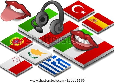 isometric headphones and mouth on the button flag of south europe country