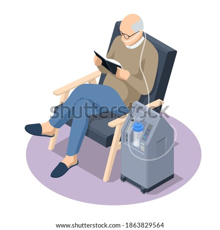 Isometric Home Medical Oxygen Concentrator. Concept of healthcare, life, pensioner. Senior man with Chronic obstructive pulmonary disease with supplemental oxygen Foto stock ©