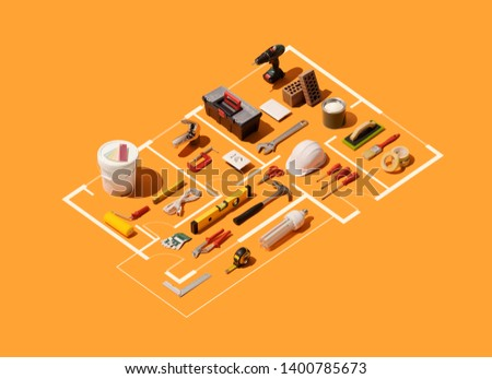 Isometric house plan project with work tools: home renovation, construction and DIY repair concept #1400785673