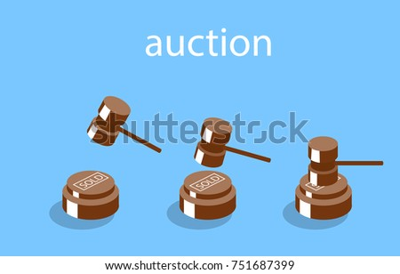 Isometric illustration auction and bidding concept. Sale of the lot at auction. Big auction hammer.