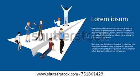 Isometric illustration business concept teamwork brought success