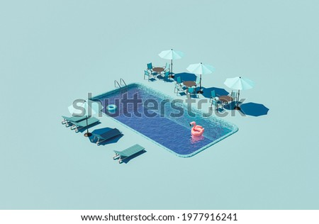 isometric illustration of a hotel swimming pool with umbrellas and hammocks around. summer concept. 3d render Сток-фото ©