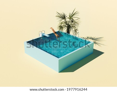 isometric illustration of swimming pool with springboard and person jumping into the water. 3d render Сток-фото ©
