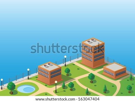 Isometric image of a fragment of the city skyline