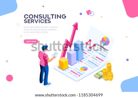 Isometric infographic of consult and administration. Corporate risk graph to engineering advertising value. Account planning grow, management or calculate report of audit. Business illustration