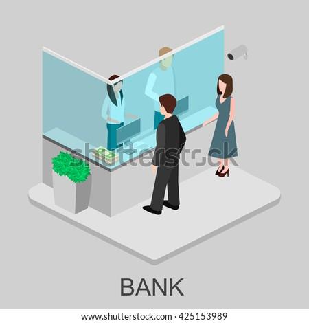Isometric interior of bank