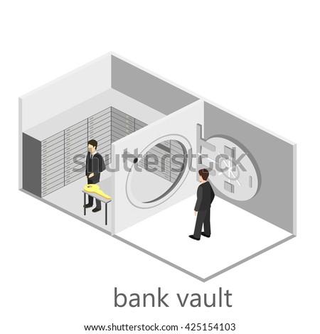 Isometric interior of bank vault