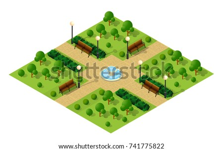 Isometric metropolis city park, natural landscape with trees, benches, paths. Urban infrastructure.