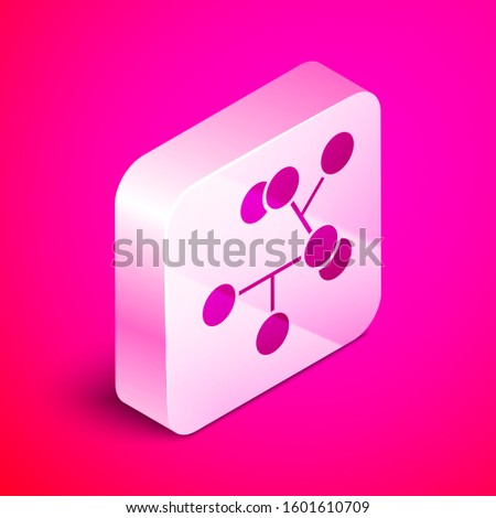 Isometric Molecule icon isolated on pink background. Structure of molecules in chemistry, science teachers innovative educational poster. Silver square button.