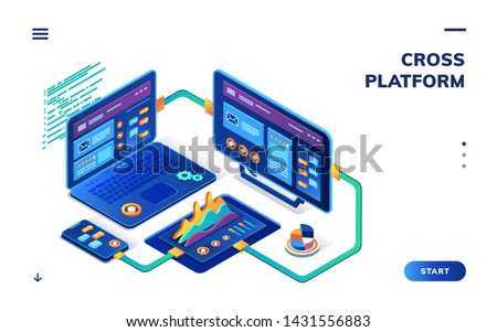 Isometric notebook and smartphone, tablet for data analytics and cloud computing. Cross platform for digital business. Background for cross-platform application with graphs. SaaS, IaaS banner