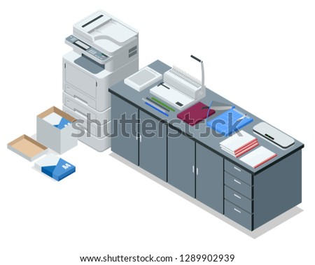 Isometric office tools concept. Vector icons illustration stapler, laminator, binder, office knife, multifunctional office printer, office cutter.