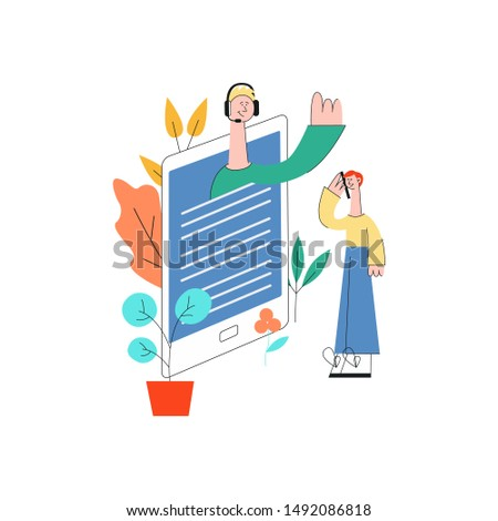 isometric online assistant concept hand holding smartphone man in headset waving hand from screen to male customer with beard as positive communication. Cusomer cupport helpline illustration