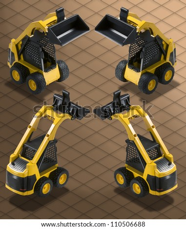 Isometric Photograph - Bobcat Excavator Bulldozer isolated with Clipping path included - All my ISO shots are modular and you can use them mixing together having the same angle of prospective