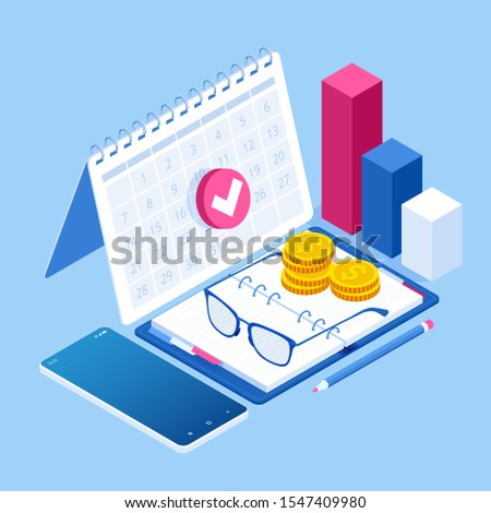 Isometric planning business task schedules for the week. Online business schedule, planning schedule, news, reminder, and events concept.