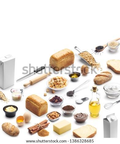 Isometric presentation of baking ingredients over white background #1386328685