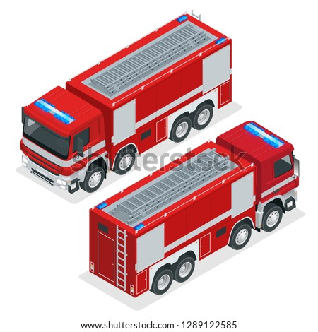 Isometric Red fire truck, vehicle of Emergency. Firefighters design element on a white background